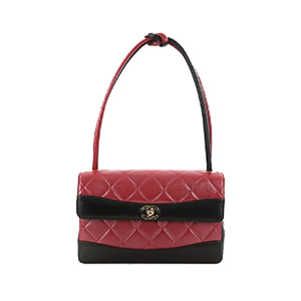Classic Flap Vintage Two-Tone Knot Handle Quilted Leather Satchel