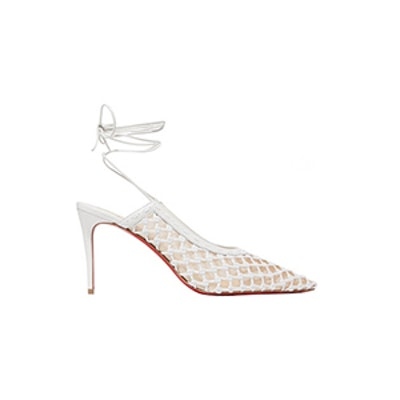 Christian Louboutin x Roland Mouret Cage And Curry Mesh And Woven Leather Pumps