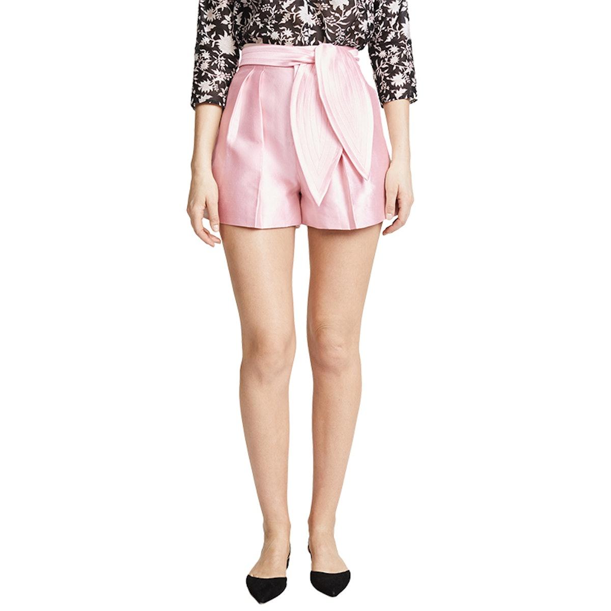 Phoebe Pleated Silk Wool Shorts