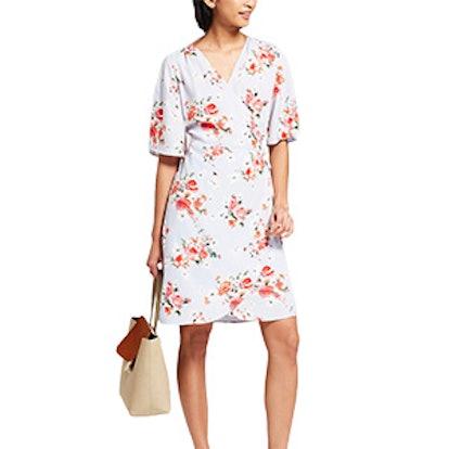 Floral Print Short Sleeve Kimono Wrap Dress