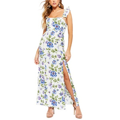 Floral Ruffle-Strap Maxi Dress