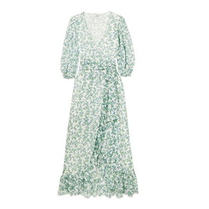 Ganni Tilden Floral-Print Mesh Wrap Dress