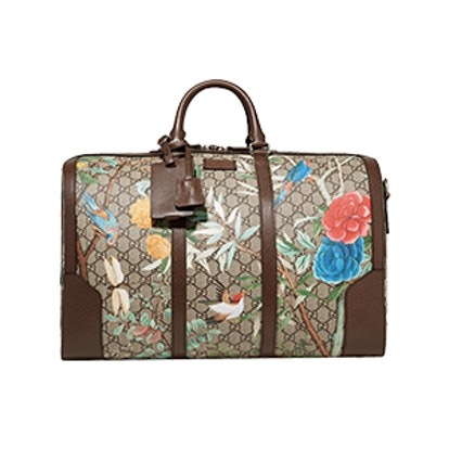 Leather-Trimmed Printed Coated-Canvas Weekend Bag