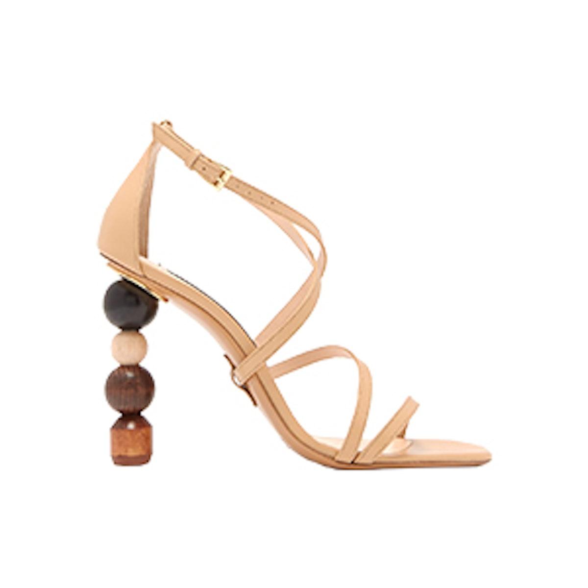 Rumba Ornamental-Heel Leather Sandals
