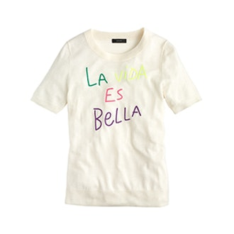 "Tippi Short-Sleeve Sweater in ""La Vida Es Bella"""