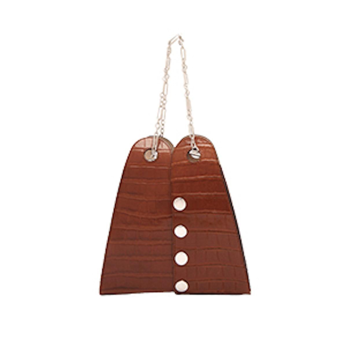 Double Crocodile-Effect Leather Bag