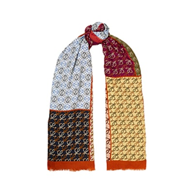 Intarsia Wool, Silk and Cashmere-Blend Scarf