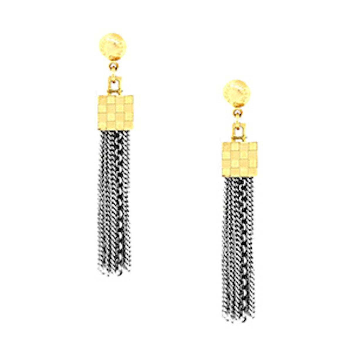 White Two Tone Damier Charlie Tassel Earrings