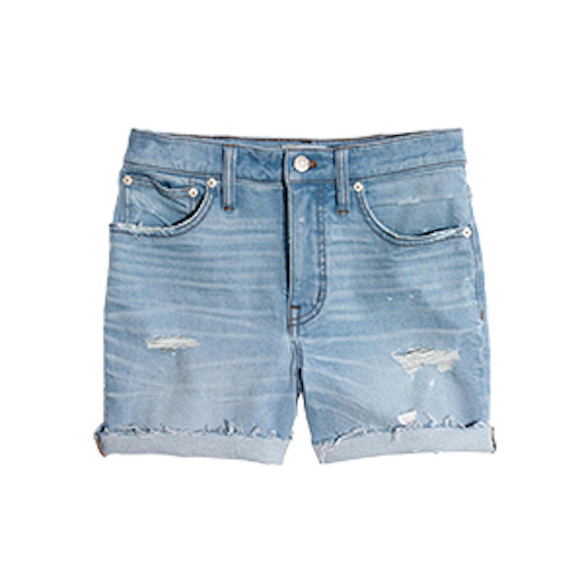 High-Rise Denim Shorts in Posey Wash