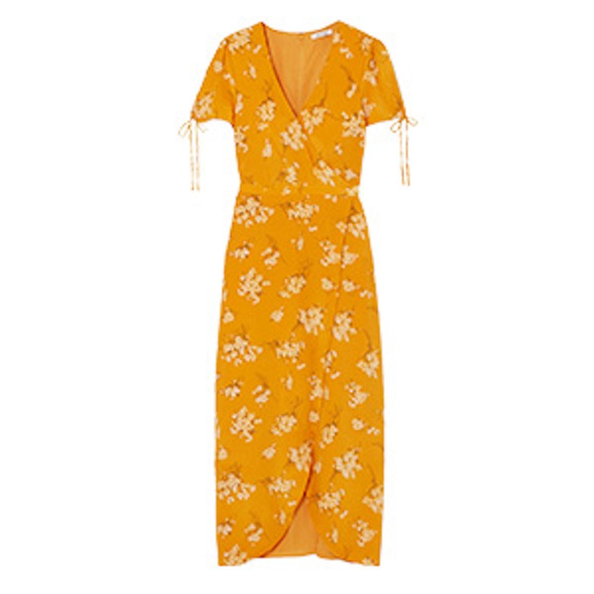 Wrap-Effect Floral-Print Silk Midi Dress