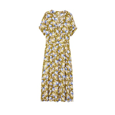 Floral Wrap Neckline Dress