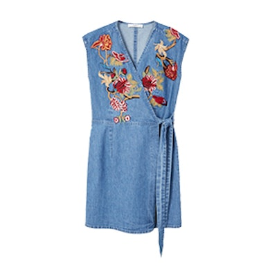 Flower Embroidered Denim Dress