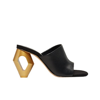 Metal Heel Leather Mules