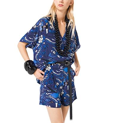 Tropical Welcome Print Crepe De Chine Shirt