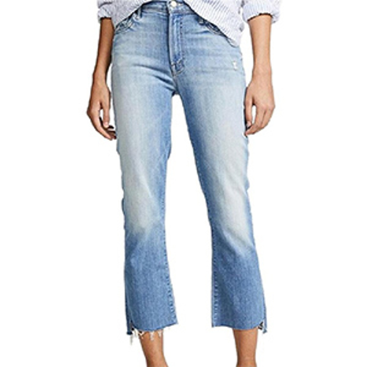 Medium Wash Two Step Fray Cropped Jeans