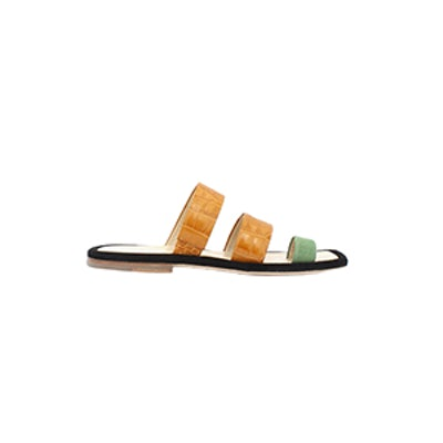 Marissa Sage Green Suede + Tan Leather Croc Three Strap Sandal