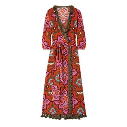 Lena Tasseled Printed Cotton-Voile Maxi Dress