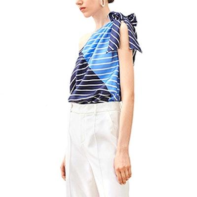 Striped One Shoulder Silk Top