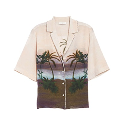 Sandro Embellished Tropical Top