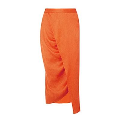 Wrap-Effect Plissé Silk-Satin Midi Skirt