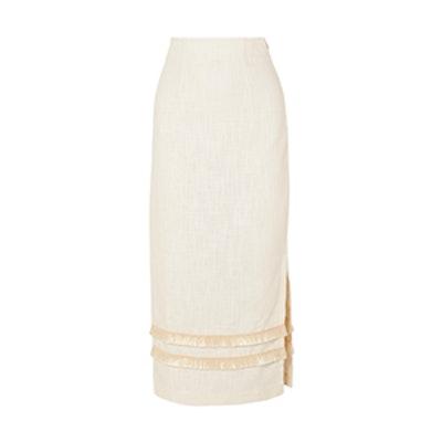 Andy Fringed Linen-Blend Midi Skirt