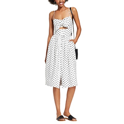 Polka Dot Sleeveless Button Down Knot Front Midi Dress