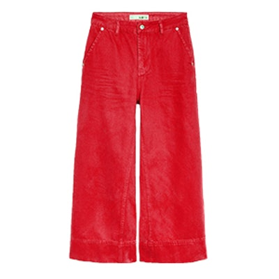 Moto Red Cropped Wide Leg Jeans
