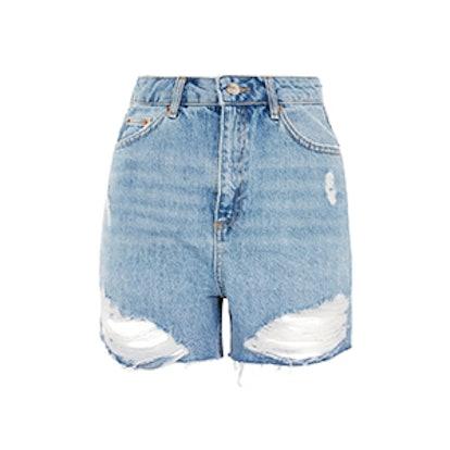 Tall Mid Blue Mom Shorts