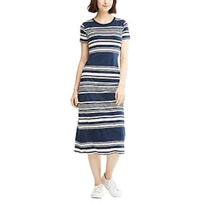 Striped Short-Sleeve Long Bra Dress