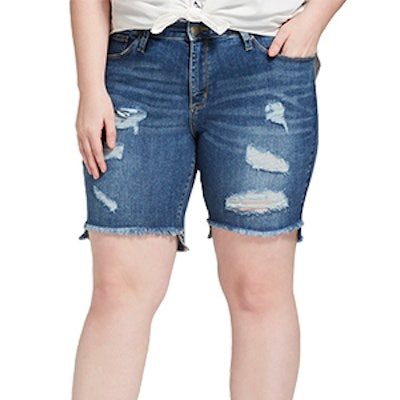 Women's Plus Size Destructed Bermuda Jean Shorts