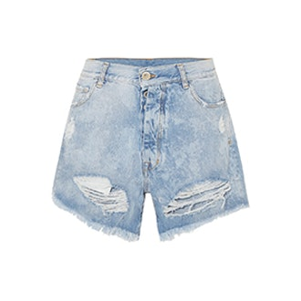 Cloudy Distressed Denim Shorts