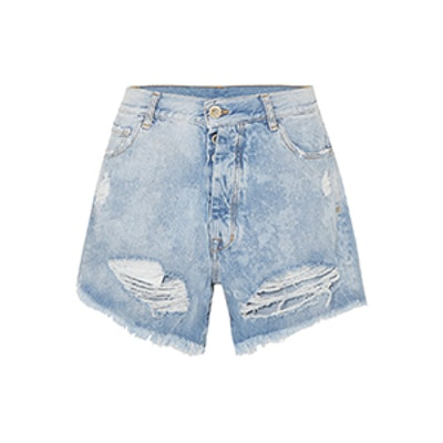 Cloudy Distressed Denim Shorts