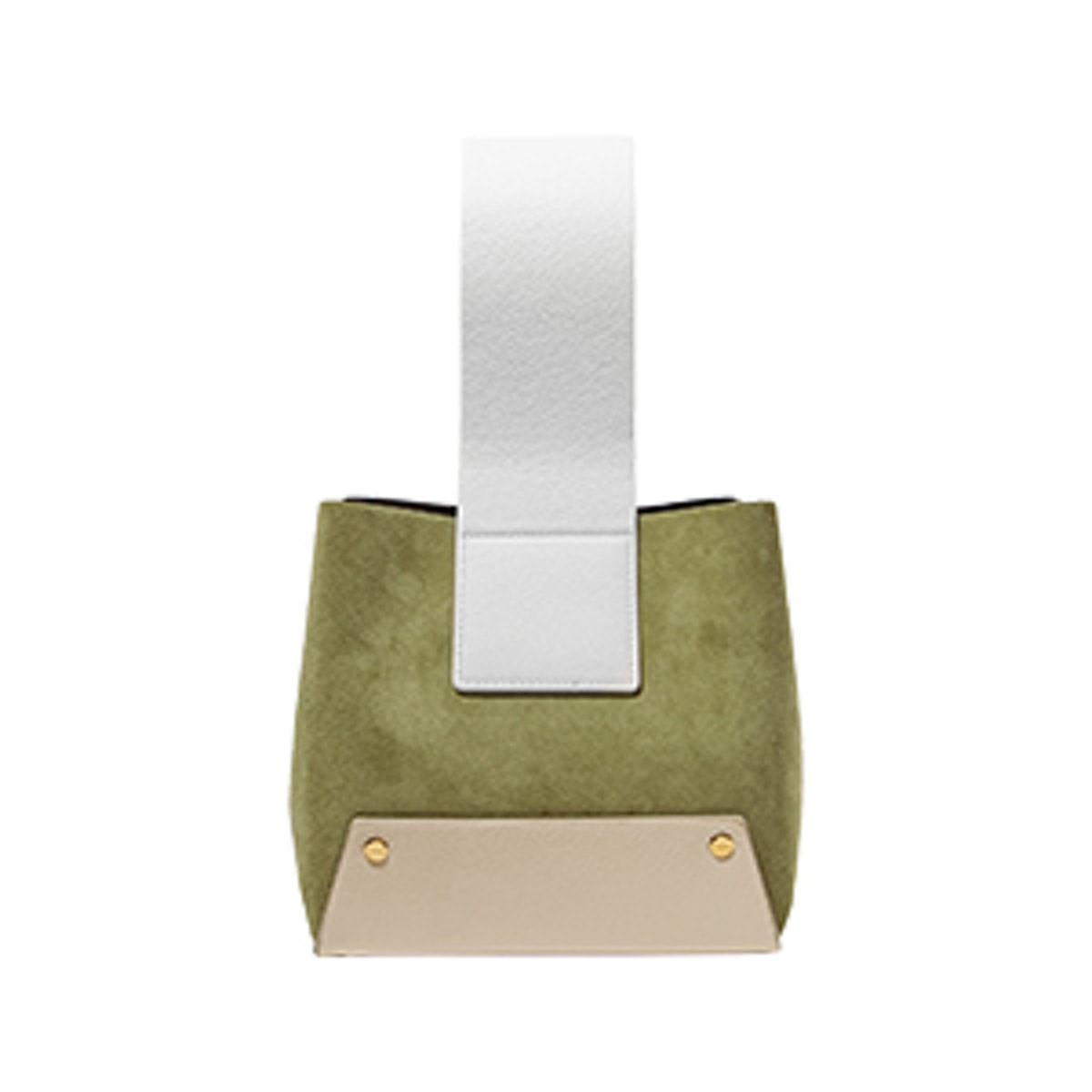 Tab Small Color-Block Textured-Leather and Suede Tote
