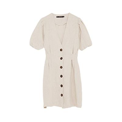 Buttoned Linen Dress