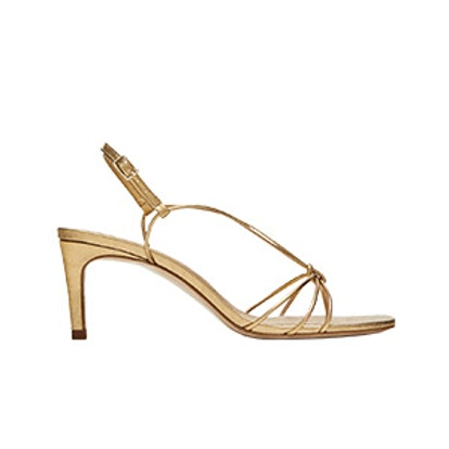 Gold Leather High-Heel Sandals