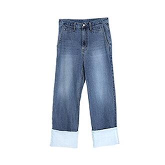 Roll Up Wide Denim Pants