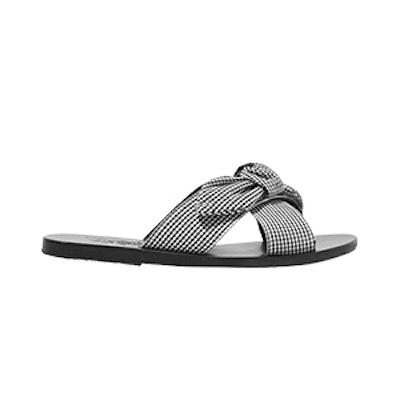 Ancient Greek Sandals Thais Bow-Embellished Gingham Cotton Slides