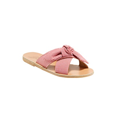 Ancient Greek Sandals Gingham Fabric Knotted Sandals