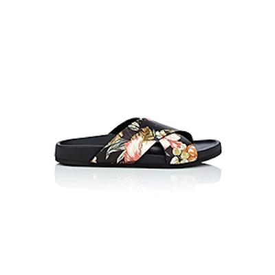 Floral Leather Slide Sandals