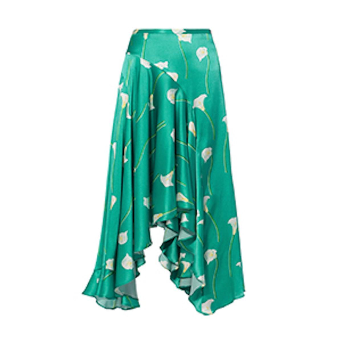 Calla Lilly Flounced Midi Skirt