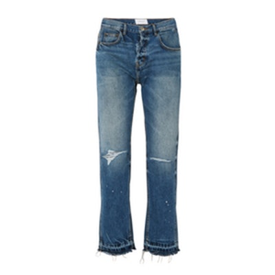 The Throwback Original Distressed High-Rise Straight-Leg Jeans