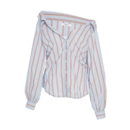 Cinched Poplin Long Sleeve Shirt