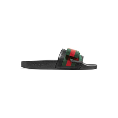 Gucci Pursuit Bow-Embellished Satin and Rubber Slides