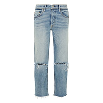 Helena Distressed High Rise Straight Leg Jeans