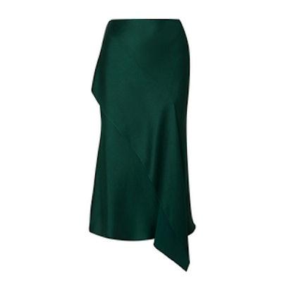 Jason Wu Draped Satin-Crepe Midi Skirt