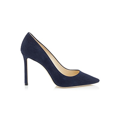 Romy Navy Suede Pointy Toe Pumps