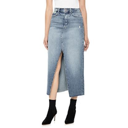 High Waist Long Denim Skirt
