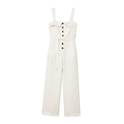 Linen-Blend Striped Jumpsuit