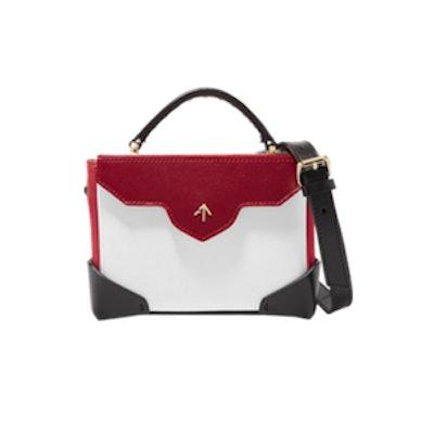 Manu Atelier Bold Color-Block Leather and Suede Shoulder Bag
