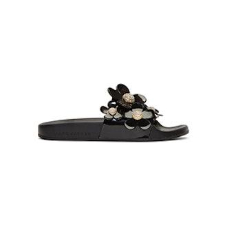 Black Daisy Pavé Aqua Slides